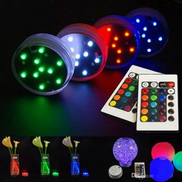 Wholesale Submersible Led Lights Flowers - 2 controller+4 light,LED Submersible flower floral tea Light flashing Waterproof wedding party decoration lamp hookah shisha accessories