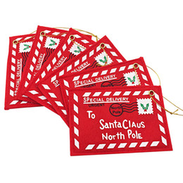 Wholesale Wholesale Mini Envelopes - The Christmas tree ornament Non-woven mini envelope with rope Send to Santa Claus Can hold greeting card