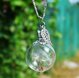 Lampadina di bottiglia online-Dente di leone Real Seed Glass Bulb Wish Necklace Dandelion Seed Collane foglia Dandelion Collana Wish Drift bottle