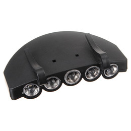 Wholesale Led Head Cap Lights - Big Promotion Clip On 5 LED Head Cap Hat Light HeadLamp Headlight Torch for Outdoor Fishing Camping Hunting Black