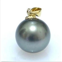 Wholesale 16mm South Sea Pearl Pendant - 16mm AAAA+ black South Sea Shell Pearl pendant 14k solid marked