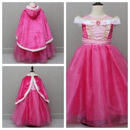 Wholesale Halloween Prince Costume - Halloween Sleeping Beauty Aurora Princes Dresses Girls Cosplay Costume Party Pink Dress Can With Cape XMAS Clothing 10pcs OOA2425