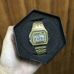 Wholesale Vintage Square Mens Watches - New Watches Mens Classic Stainless Steel Digital Retro Watch Vintage Gold and Silver Digital Alarm G Style Sports Shock Male Watches Saat