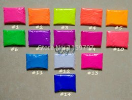 Wholesale Fluorescent Pigment Powder - Wholesale- Mixed 14 colors,10g per color Fluorescent Powder Pigment for Paint Printing Soap Neon powder Nail Art Polish
