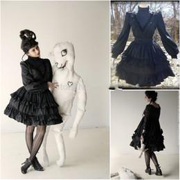 2020 vestido negro victoriano corto Nueva llegada vestido de fiesta gótico negro Southern Belle victoriana regreso a casa una línea de cuello alto corto Mini vestido de cóctel de Halloween rebajas vestido negro victoriano corto