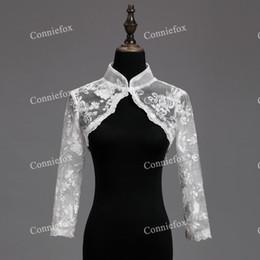 Wholesale Lace Shrug Ladies - Real Photo 2017 Champagne Bolero Ladies Long Sleeve Cropped Lace Shrug Bolero Wedding Jackets White Bridal Wraps