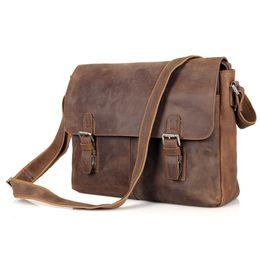 Wholesale crazy horse cross body bag - Wholesale- Vintage Crazy Horse Genuine Leather Men Messenger Bags Cowhide Leather Shoulder Bag Crossbody Bag Casual Male Bag Brown J6002L