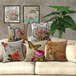Wholesale Vintage Butterfly Cushion - Thick Linen Butterfly Cushion Cover Sofa Decorative Linen Vintage Throw Pillows Case Waist Pillow Butterfly flower pillowcase BY DHL 240482