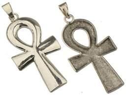 Wholesale Wholesale Ankh Charms - diy ankh cross pendants jewelry necklaces handmade charms large single religious antique silver metal alloy jewelry components 91*41mm 20pcs
