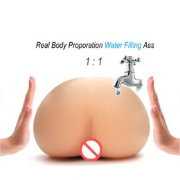Wholesale Toy Mans Pussy - Injecting Warm Water filling Inflatable Silicone Realistic Pussy Real Body Temperature Male Masturbactor Big Ass Sex Toy for Men