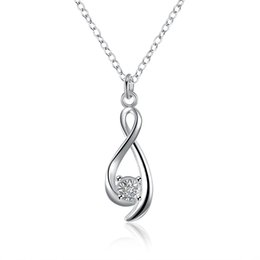Wholesale Lucky Number Necklace - Women fashion jewelry 2016 newly style lucky number 8 shining zironia pendant necklace silver plated chain necklace christmas valentie's day