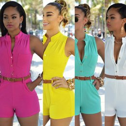 Wholesale Tights Jumpsuit White - Europe and the tight type of tall waist single-breasted jumpsuits shorts with belt More color code Support to mixed batch of