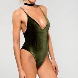 Wholesale One Piece Lycra Bodysuit - 2017 Sexy Women's Dark Green Orange Gold Velvet Double-sided Backless Swimwear Bathing Suit Brazilian Monokini Swimsuits Bodysuit S M-XL