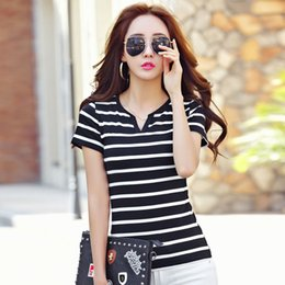 Wholesale Womens Clothing Office - Casual office lady striped t-shirts for women tops off black short sleeve t shirt womens clothing crop top tshirt WT55 WR