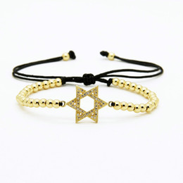 Wholesale Halloween Star David - Wholesale 10pcs lot High Quality 4mm Copper Beads With Micro Pave Clear Cz Star Of David Macrame Lucky Bracelet