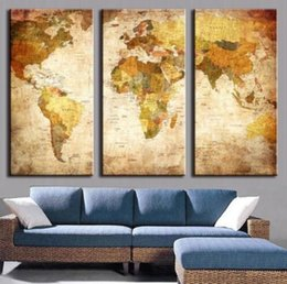 Wholesale Oil Paint Map - 2017 3 Pieces Modern Wall Painting On Canvas With World Map Oil Painting Unframed Home Decoration