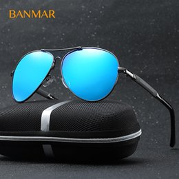 Wholesale Male Sunglass - BANMAR Brand Mens Sunglasses Men Polarized Fishing Driving Aviator Glasses Male UV400 Classic Pilot Blue Sunglass with Case 9812