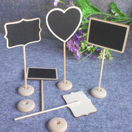 Wholesale Mini Message Chalkboard - 10pcs Mini Wooden heart Rectangle Message Blackboard Chalkboard Black Notice Board Price Stand Home Office Wedding Table Decor