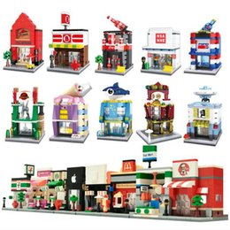 Wholesale Mini Stores - Finger Rock City Mini Street Series With figures Building Block Toys Model Store Shop Apple Store McDonald`s DIY Bricks Gift