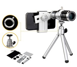 Wholesale Telephoto Universal 12x - 12X Zoom Camera Telephoto Telescope Lens + Mount Tripod For Cell Phone Universal