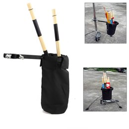 Wholesale Drum Sticks Case - Drumstick Holder Nylon Clip On Stand Drum Sticks Cases Drummer Bag Black