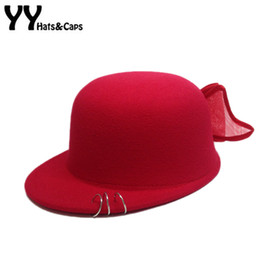 Wholesale Red Sombrero - Lovely Winter Fedoras Hats For Kids Equestrian Hat With Large Bow Children Autumn Trilby Hat Wool Fedora Chapeu Sombrero YY60544