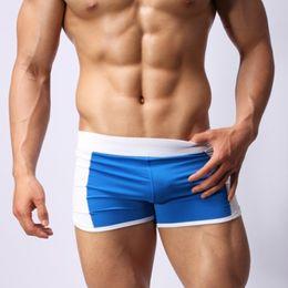 Wholesale Low Rise Swim Shorts Men - Wholesale-High Quality Sexy Men Swimwear Swimming Trunks Swim Wear Low Rise Male Swimsuits Bermuda Beach GYM Sports Boxer Shorts Brand
