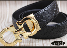 Wholesale Gold Belts For Men - High quality belts for men fashion brand designers luxury cow genuine leather belt Gold silver letter buckle waistband Free shipping