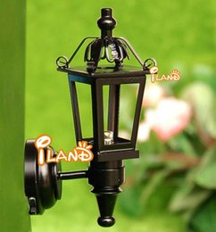 Wholesale House Led Light Decor - 1:12 Dollhouse Miniature Sconce Outdoor Wall Lamp Led light Yard decor Doll House Accessory