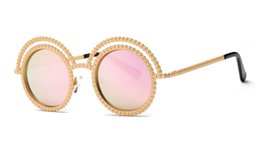 Wholesale Frame Out Mirror - Sexy 2016 luxury sunglasses women round rivets metal hollow out vintage round mirror lens uv400 sunglasses beach ladies pink