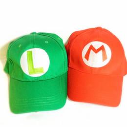 Wholesale Super Mario Bros Caps - Super Mario Bros Green Luigi & Red Mario Baseball Cap Adult Size Cap Hat Costume Christmas Gifts