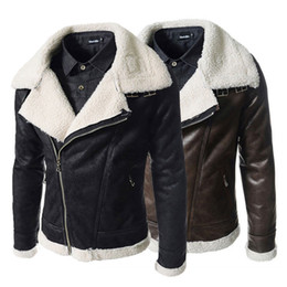 Wholesale Large Lapel Leather - Cable-stayed fine cashmere Leather clothing, Korean men Slim large collar leather jackets brown,black coat 729