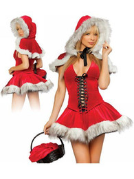 Wholesale Santa Sexy Outfits - High Quality New Faux Fur Red Sexy Hoodwinked Costume Hoodie Dress Christmas Outfit Fancy Dress W204058