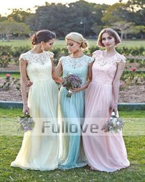 Wholesale Custom Made Clothing China - Elegant Lace Short Sleeve Bridesmaid Dresses Long 2017 Cheap Clothes China Pleat Chiffon Prom Party Gown Bridesmaid Formal Dress