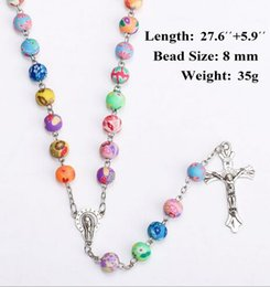 Wholesale American Polymers - Fashion Cross Jesus Necklace With Polymer Clay Rosary Beads Catholic Christian Colorful Rosary Crucifix Pendant Necklace