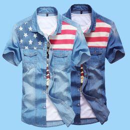 Wholesale Light Soft Blue Jeans - 2016 Summer Denim Shirt Men British Flag Shirt Cotton Soft & Comfortable Men Shirt Jeans Straight Light Blue Casual Shirt Male