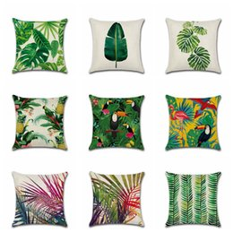 Wholesale Wholesale Decorative Leaves - Tropical Plant Printed Cushion Cover Green Leaves Linen Pillow Case Chair Car Sofa Pillow Cover Home Decorative OOA3752