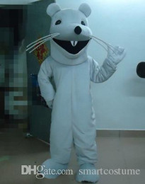 Wholesale Mouse Costume For Sale - SX0724 Good vision and good Ventilation a white mouse mascot costume with big mouth for sale