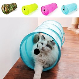 Wholesale Pet Tunnels Cats - New Design Cat Tunnel Toy Pet Kitten Foldable Tunnel Dangling Bell Play Toys Funny Puppies Cat Play Tunnel Toys Gift JJ0145