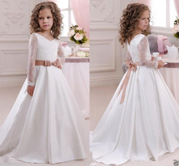 Wholesale g made - New design 2016Cute Long Sleeves Flower Girl Dresses Princess V Neck Floor Length With Bow Sash Cheap Girls First Communion Pageant Party G