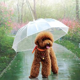 Wholesale Dog Umbrellas - Dog Supplies Dog Collar Lead With Leash Pet Rainy Day Walking Umbrella Raincoat Waterproof Transparent Pet Supplies