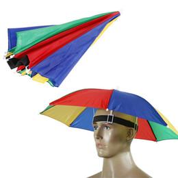 Wholesale sunny hats - 2016 New Product Usefull Rainbow Umbrella Hat Sun Shade Camping Fishing Hiking Festivals Outdoor Brolly ZA0514