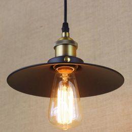 luzes de tira led comercial Desconto Atacado-América Estilo Loft Industrial Lâmpada Vintage Luzes Pingente de Ferro Rústico Preto Pintura Lamparas Colgantes