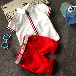 Wholesale Down Boy Set - Hot Sell Summer Boys Girls Clothing Children Outfits Short Sleeve Stripe Shirts + Shorts with Belt 2pcs Sets Adorable Baby Suits K6390