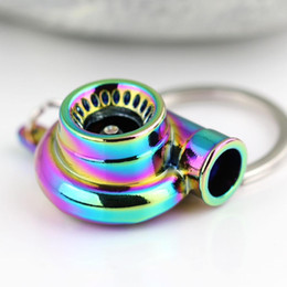 Wholesale New Models Rings - Rainbow Color Turbo Keychain Auto Parts Model Spinning New Charming Turbocharger Key Chain Ring Keyring Keyfob free shipping