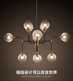 Wholesale North Europe Lighting - North Europe style design Modo Magic Bean Pendant Lamps 12 Globes Glass lampshade MODO DNA Pendant Lights for coffee clothing