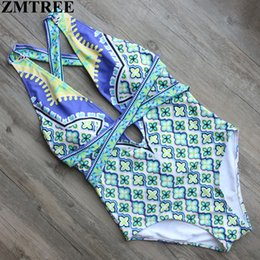 Wholesale Women S Monokinis - Wholesale- ZMTREE Brand 2017 Sexy One Piece Swimsuit Printed Bandage High Waist Swimwear Women Cut Out Bodysuit Bathing Suits Monokinis