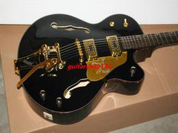 Wholesale Hollow Gold Guitar - Free Shipping Custom Shop Black Jazz Guitar 6120 Gold Hardware Wholesale Guitars HOT
