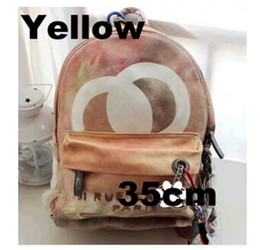 Wholesale Gray Fabric Dye - Yellow Gray Black Graffiti Printed Canvas Backpack rope bag embroidered with multicolored print canvas backpack school bag