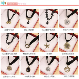 Wholesale Gold Quartz Necklace - Jewelry wholesale flower lace collar velvet ribbon neckband bell starfish necklace to send his girlfriend crazy shopping free shipping